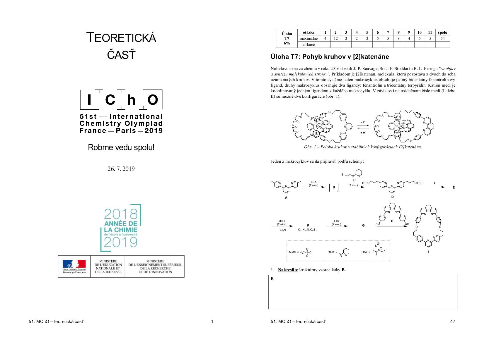 Ilustračný obrázok - zadanie teoretickej časti 51. IChO
