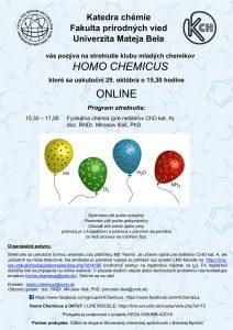 Pozvánka na online Seminár Homo Chemicus 29. 10. 2020